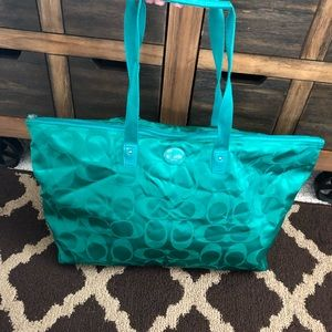Green Coach Tote/ Weekender Bag